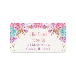 rosa lila und aquamariner adressaufkleber