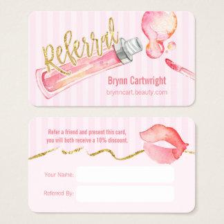 Rosa Lipgloss und Visitenkarte