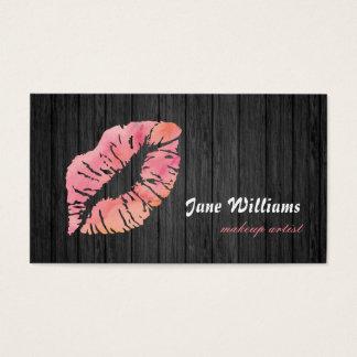Rosa LippenMaskenbildner-hölzerner Hintergrund Visitenkarte