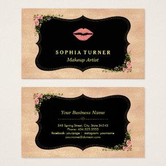 Rosa LippenRosen-GoldGlitter-wildes Visitenkarte