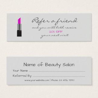 Rosa Lippenstift Empfehlungs-Karte Mini-Visitenkarten