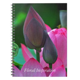 Rosa Lotus-Blüten Spiral Notizblock