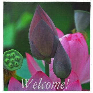 Rosa Lotus-Blüten Stoff Servietten
