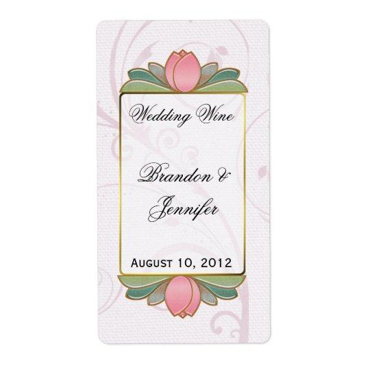 Rosa Lotus, das Miniwein-Aufkleber Wedding ist