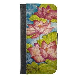 Rosa Lotus-Kunst iPhone 6 Geldbörsen-Kasten iPhone 6/6s Plus Geldbeutel Hülle