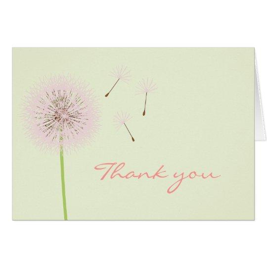Rosa Löwenzahn dankt Ihnen zu kardieren Mitteilungskarte