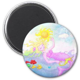 Rosa Meerjungfraumagnet Runder Magnet 5,1 Cm