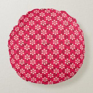 rosa mit Blumenkissen Rundes Kissen