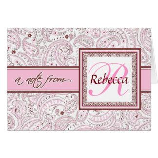 Rosa mit Monogramm Name Paisleys Karte