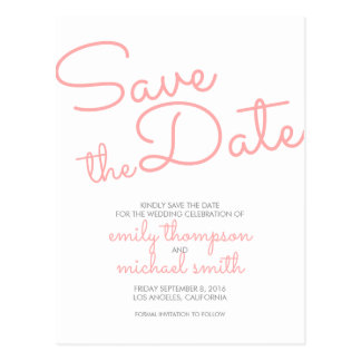 Rosa moderne Typografie, die Save the Date Wedding Postkarte