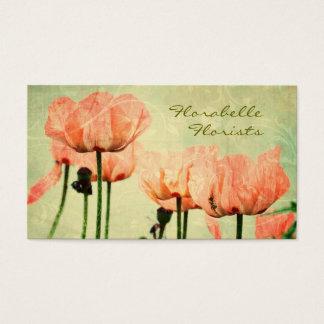 Rosa Mohnblumen und BlumenWirbel Visitenkarte