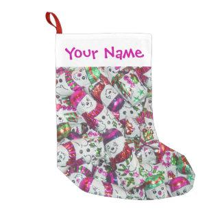 Rosa NamensStrumpf der süßen Snowmen Kleiner Weihnachtsstrumpf