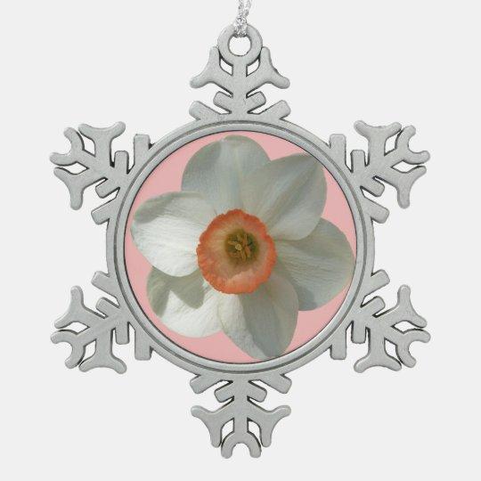 Rosa Narzissen-schöne Frühlings-Blume Schneeflocken Zinn-Ornament