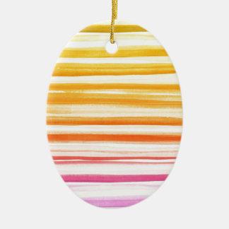 Rosa orange Brushstroke-Aquarell Ombre Muster Ovales Keramik Ornament