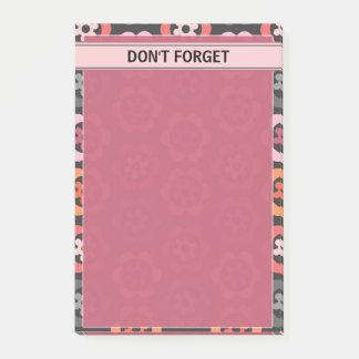 Rosa orange graues Blumen, zum der Liste zu tun Post-it Klebezettel