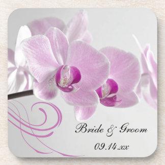 Rosa Orchideen-Eleganz-Hochzeit Cocktail Untersetzer