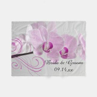 Rosa Orchideen-Eleganz-Hochzeit Fleecedecke