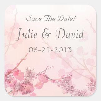 Rosa Orchideen-Hochzeit Quadratischer Aufkleber