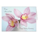 Rosa Orchideen-Hochzeitstag-Mamma-und Vati-Karte