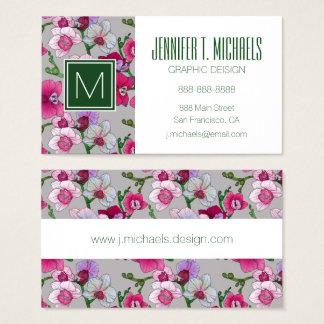 Rosa Orchideen in Blüte | addieren Ihren Namen Visitenkarte
