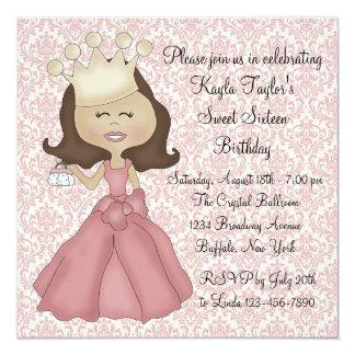 Rosa Party Damast-Prinzessin-Sweet 16 Quadratische 13,3 Cm Einladungskarte
