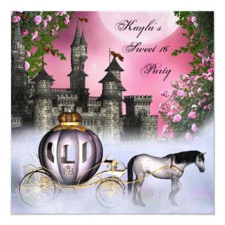 Rosa Party Rosen-Prinzessin-Sweet 16 Quadratische 13,3 Cm Einladungskarte