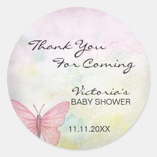 Rosa Pastellschmetterling danken Ihnen Babyparty Runder Aufkleber