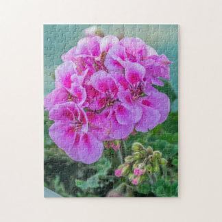 Rosa Pelargonie-Fotopuzzlespiel