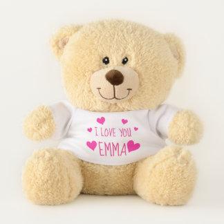 Rosa personalisierte I Liebe der Valentine-Herz-  Teddybär