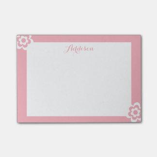 Rosa personalisierter Posten-it® merkt weiße Blume Post-it Klebezettel
