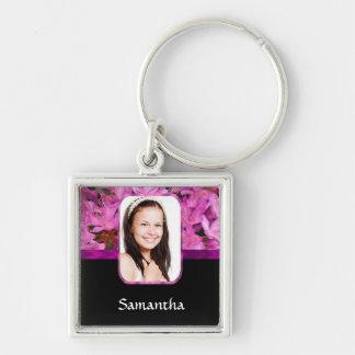 Rosa personalisiertes mit BlumenFoto Schlüsselanhänger