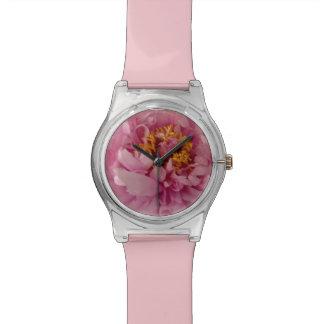 Rosa Pfingstrosen-Armbanduhr Uhr