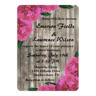 Rosa Pfingstrosen-Hochzeits-Einladung Karte