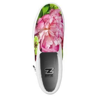 Rosa Pfingstrosen-Schuhe Slip-On Sneaker