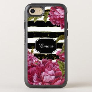 Rosa Pfingstrosen-Schwarz-weißer mit OtterBox Symmetry iPhone 8/7 Hülle