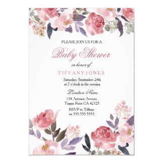 Rosa Pfirsich-laden BlumenAquarell-Babyparty ein 12,7 X 17,8 Cm Einladungskarte