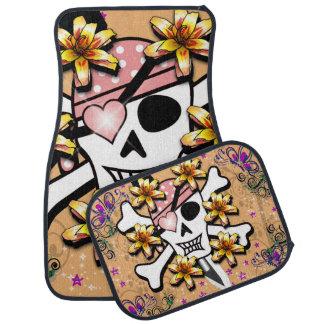 Rosa Piraten-Totenkopf mit gekreuzter Knochen Autofußmatte