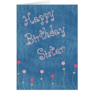 Rosa Posies auf Denim-Schwester-Geburtstag Grußkarte