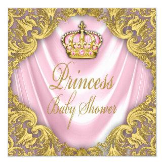 Rosa Prinzessin-Babyparty und Goldsatin Quadratische 13,3 Cm Einladungskarte