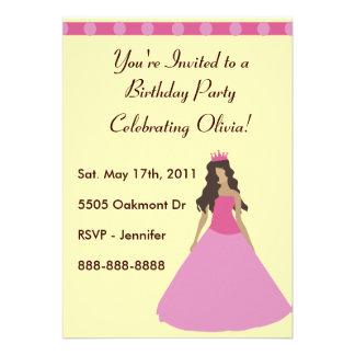 Rosa Prinzessin Birthday Invitation Personalisierte Ankündigungskarte