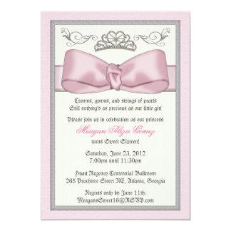 Rosa Prinzessin Bowed Invite 12,7 X 17,8 Cm Einladungskarte