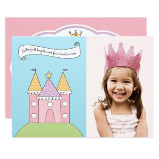 Rosa Prinzessin der Foto-Geburtstags-Party 12,7 X 17,8 Cm Einladungskarte