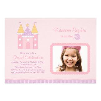 Rosa Prinzessin der Foto-Geburtstags-Party Einladu Ankündigung