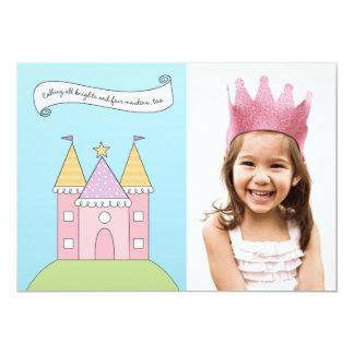 Rosa Prinzessin der Foto-Geburtstags-Party Einladu Ankündigungskarte