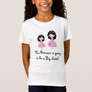 Rosa Prinzessin große Schwester - schwarzes Haar T-Shirt