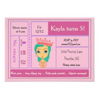 Rosa Prinzessin Movie Ticket Invitation 12,7 X 17,8 Cm Einladungskarte
