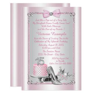 Rosa Prinzessin Quinceanera Invitations 12,7 X 17,8 Cm Einladungskarte