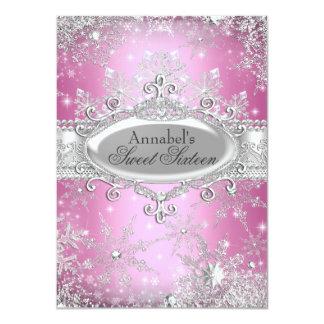 Rosa Prinzessin Winter Wonderland Sweet 16 laden 11,4 X 15,9 Cm Einladungskarte