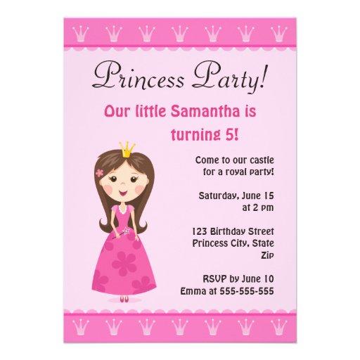 Rosa Prinzessingeburtstags-Party Einladung
