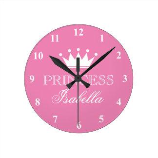 Rosa Prinzessinkronen-Wanduhr für Uhr